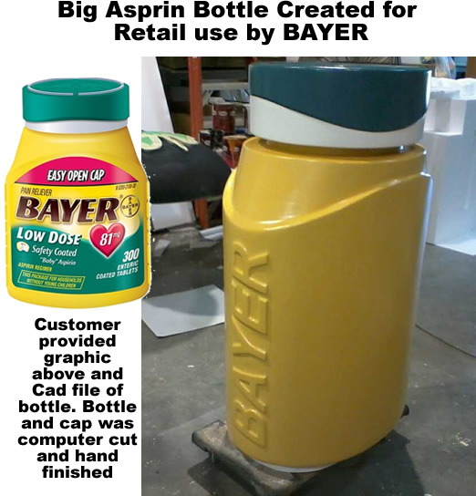 Big BAYER asprin bottle created for retail use -Foam Prop Display