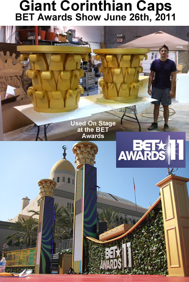 Custom Architectural Foam Shapes - Corinthian Caps for BET 2011 awards show