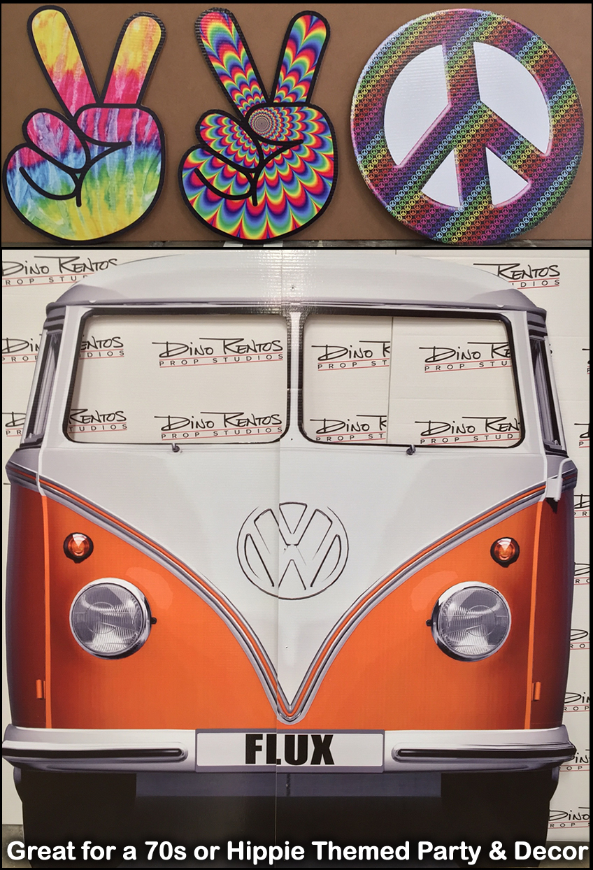 70s Hippie Themed Cardboard Cutout Props and Displays Cardboard Peace Symbol and VW Van