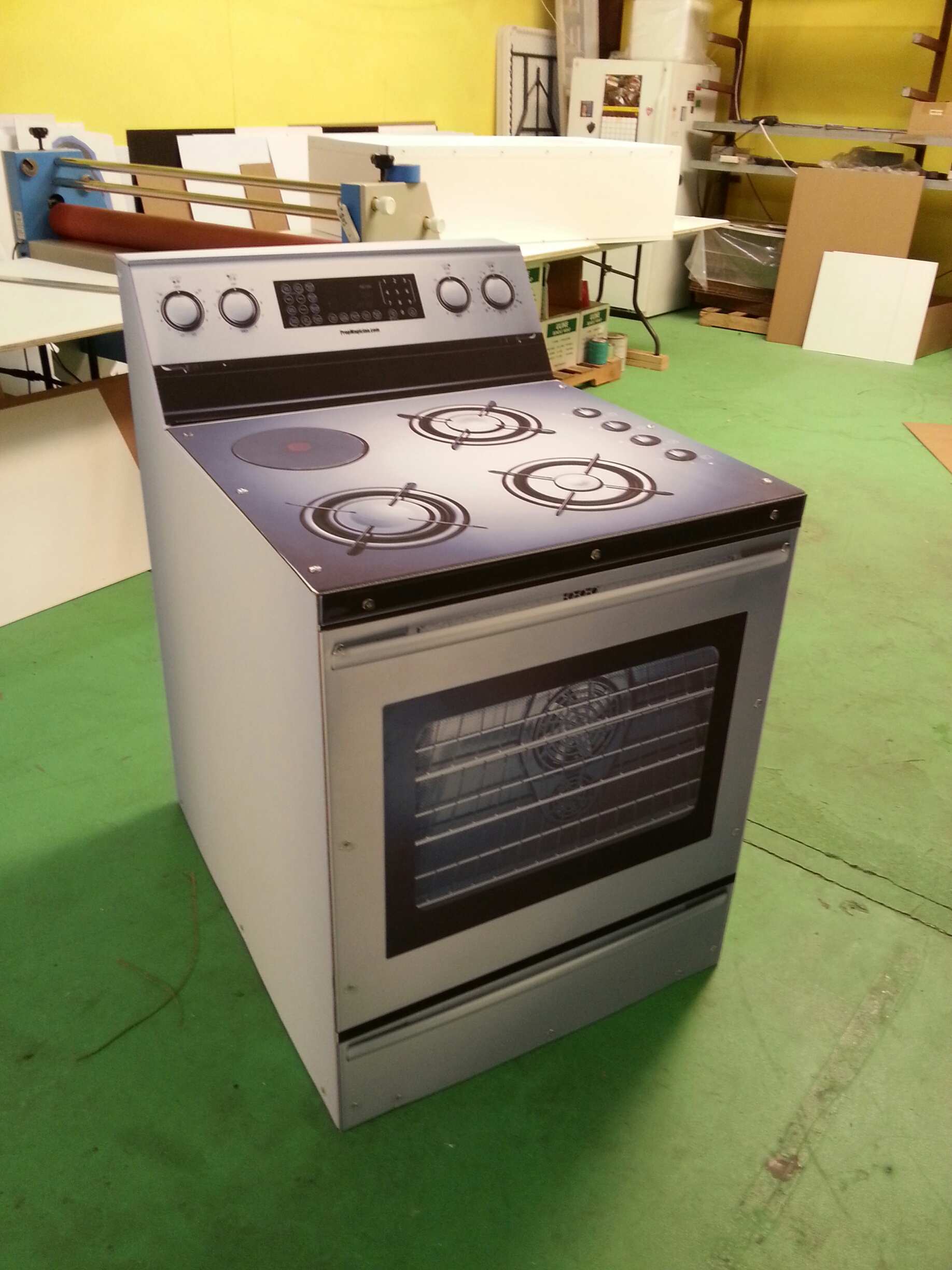 Custom Cardboard Cutout Standup Display Stove Appliance for Staging and events