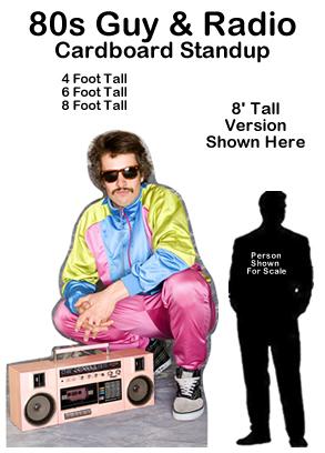 80s Guy & Radio Cardboard Cutout Standup Prop