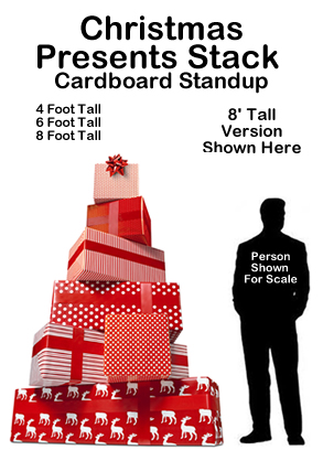 Christmas Presents Stack Cardboard Cutout Standup Prop