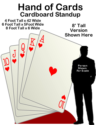 Casino Vegas Hand of Cards Cardboard Cutout Standup Prop